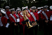 Carrie Rucker '21 waits to perform with the Big Red Marching Band at halftime during Cornell football's homecoming game against Yale at Schoellkopf Field in Ithaca, N.Y. on Sept. 22, 2018.