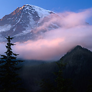Huge Mt. Rainier slumbers on in Mt. Rainier National Park, WA.