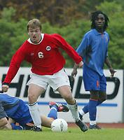 Fotball. Privatlandskamp U21. Sandefjord. 20.05.2002.<br /> Norge v Nederland 1-1.<br /> Trond Fredrik Ludvigsen, Norge og Hertha Berlin.<br /> Foto: Morten Olsen, Digitalsport