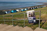 In an attempt to stop the littering of the boroughs beaches, Canterbury City Council posters have appeared along the northern Kent coast of the Thames Estuary, where holidaymakers are returning to as the Coronavirus pandemic lockdown guidelines are gradually eased, and seasides become popular again after months of lockdown, on 19th July 2020, in Whitstable, Kent, England.