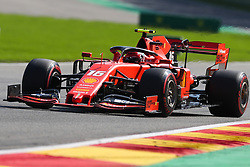 SPA-FRANCORCHAMPS, Aug. 31, 2019  Charles Leclerc of Ferrari drives during the Qualifying of the Formula 1 Belgian Grand Prix at Spa-Francorchamps Circuit, Belgium, Aug. 31, 2019. (Credit Image: © Zheng Huansong/Xinhua via ZUMA Wire)
