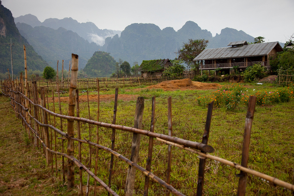 Vang Vieng, Laos. Farmhouse near the river.