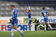Chris McCann of Wigan Athletic (c) celebrates after scoring his teams 1st goal. Skybet football league one match , Wigan Athletic v Southend Utd at the DW Stadium in Wigan, Lancs on Saturday 23rd April 2016.<br /> pic by Chris Stading, Andrew Orchard sports photography.