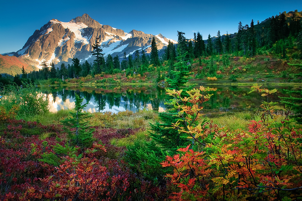 Mount Shuksan in Washington state's North Cascades National Park reflecting in Picture Lake