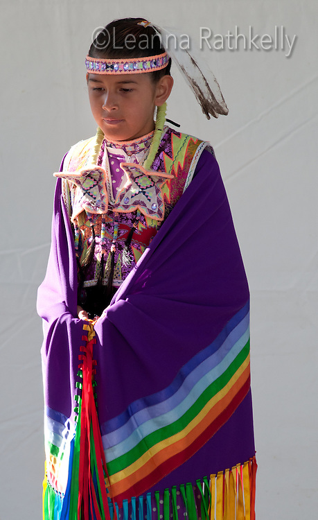 Amber Wells, daughter of famous Lil'Wat Dancer Alex Wells, readies for her dance at the Aboriginal Cultural Festival in Victoria, BC