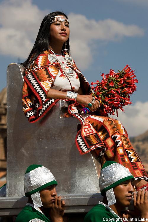 "The Sapa Inca's wife Mama Occla (Coya) arriving by litter. Inti Raymi ""Festival of the Sun"", Plaza de Armas, Cusco, Peru."