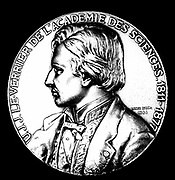 Urbain Jean Joseph Leverrier (1811-1877) French astronomer who calculated the position of planet Neptune in 1846.  Calculations confirmed were shortly after by JG Galle at Berlin. Obverse of a commemorative medal.