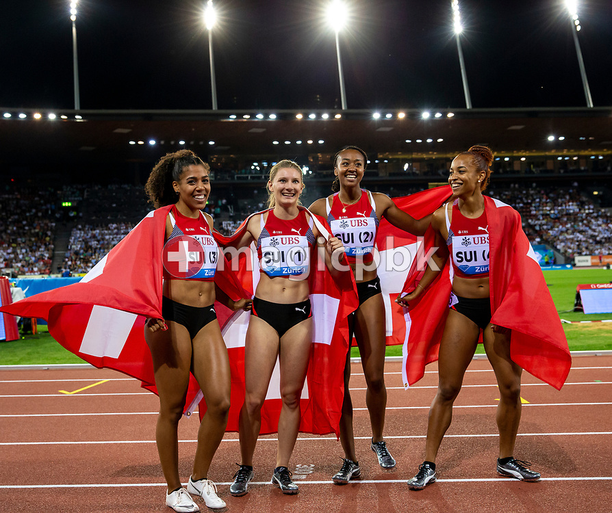 (L-R) Team Switzerland with Mujinga KAMBUNDJI, Ajla del PONTE, Sarah ATCHO and  Salome KORA on their lap of honor after competing in the Women's 4x100m Relay - Zurich Trophy - during the Iaaf Diamond League meeting (Weltklasse Zuerich) at the Letzigrund Stadium in Zurich, Switzerland, Thursday, Aug. 29, 2019. (Photo by Patrick B. Kraemer / MAGICPBK)