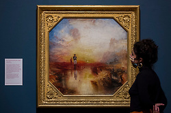 "© Licensed to London News Pictures. 26/10/2020. LONDON, UK. ""War.  The Exile and the Rock Limpet"", 1842, by JMW Turner. Preview of ""Turner's Modern World"", a new landmark exhibition of over 150 works exhibition by JMW Turner at Tate Britain, 28 October to 7 March 2021.  Photo credit: Stephen Chung/LNP"
