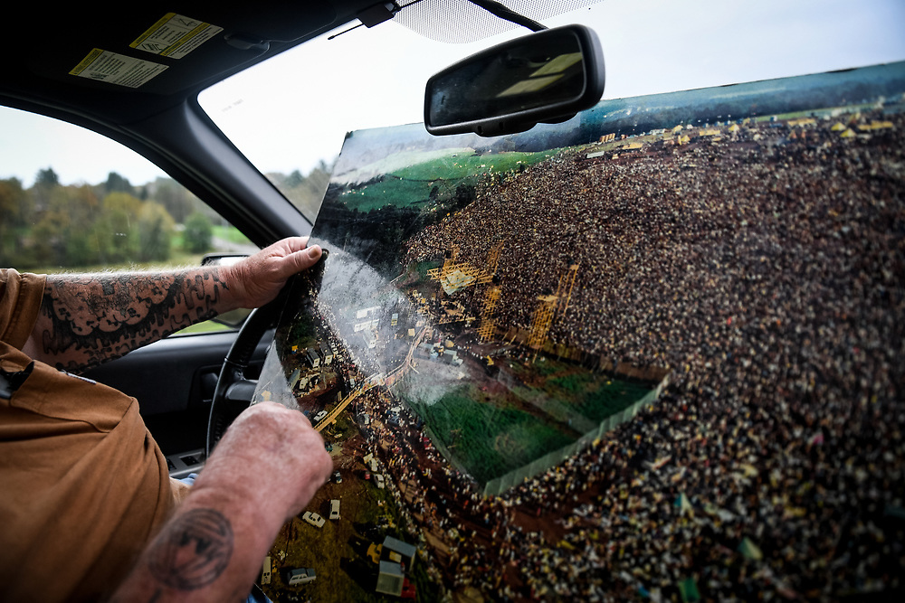 Duke drives along what was the border of the Woodstock festival, pointing out which roads used to be grass, and which buildings weren't yet standing.