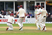 Wicket - James Hildreth of Somerset celebrates after he catches Nick Browne of Essex off the bowling of Dom Bess of Somerset during the Specsavers County Champ Div 1 match between Somerset County Cricket Club and Essex County Cricket Club at the Cooper Associates County Ground, Taunton, United Kingdom on 26 September 2019.