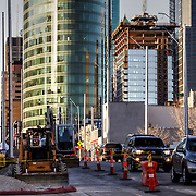 Construction progress of the Kansas City Streetcar line and One Light Tower