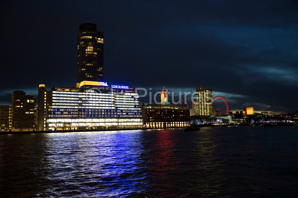 Night view across the River Thames towards the Oxo Tower, Sea Containers House, the National Theatre and the London Eye on the Southbank, London, United Kingdom. The South Bank is a significant arts and entertainment district, and home to an endless list of activities for Londoners, visitors and tourists alike. (photo by Mike Kemp/In Pictures via Getty Images)