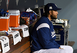 October 6, 2017 - Los Angeles, California, U.S. - Los Angeles Dodgers starting pitcher Clayton Kershaw sits in the dugout prior to a National League Divisional Series baseball game against the Arizona Diamondbacks at Dodger Stadium on Friday, Oct. 06, 2017 in Los Angeles. (Photo by Keith Birmingham, Pasadena Star-News/SCNG) (Credit Image: © San Gabriel Valley Tribune via ZUMA Wire)