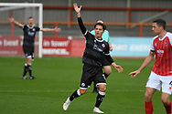 Crawley Town forward Tom Nichols (16) appeals for a throw-in during the EFL Sky Bet League 2 match between Cheltenham Town and Crawley Town at Jonny Rocks Stadium, Cheltenham, England on 10 October 2020.