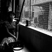 Girl resting at the Bogyoke Aung San Market