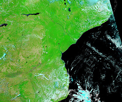 February 24, 2019 - Mozambique - Floodplain Mozambique Flooding. Tropical cyclone Idai cut a swathe through Mozambique, Zimbabwe and Malawi, the confirmed death toll stood at more than 300 and hundreds of thousands of lives were at risk (Credit Image: © NASA Earth/ZUMA Wire/ZUMAPRESS.com)