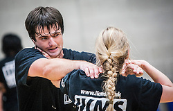 A P1 students choke hold action image, as Franklyn Hartkamp takes the Institute Of Krav Maga Scotland grading today at Stirling.<br /> ©Michael Schofield.