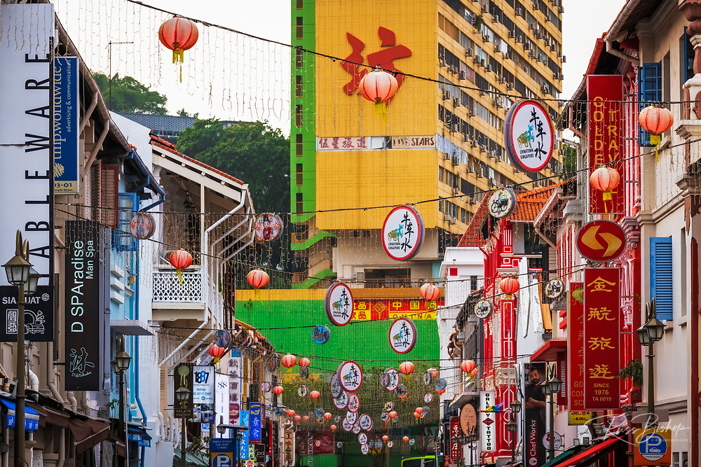 Shops and hanging lanterns in Chinatown, Singapore, Republic of Singapore