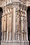 West Facade, Central Portal - Right Jamb Figures- General View c. 1145. Cathedral of Chartres, France . Gothic statues of figures. The group to the left some scholars believe that the jamb figures are the ancestors of Christ.. A UNESCO World Heritage Site. .<br /> <br /> Visit our MEDIEVAL ART PHOTO COLLECTIONS for more   photos  to download or buy as prints https://funkystock.photoshelter.com/gallery-collection/Medieval-Middle-Ages-Art-Artefacts-Antiquities-Pictures-Images-of/C0000YpKXiAHnG2k