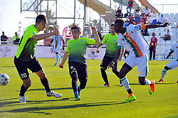 October 9, 2017 - Nabeul, Tunisia - Dembele Moussa(7) of Ivory coast,Zhumabekou Kanat(20) and Barlybayen Assan of Kazakhstan in action during the second day of the group stage of the WMF World of Mini Foot 2017, played in Nabeul (60km south of Tunis) between Kazakhstan and the Ivory coast. (Credit Image: © Chokri Mahjoub via ZUMA Wire)