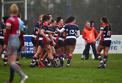 Bristol Ladies celebrate Daisie Mayes' try - Mandatory by-line: Paul Knight/JMP - 03/02/2018 - RUGBY - Cleve RFC - Bristol, England - Bristol Ladies v Harlequins Ladies - Tyrrells Premier 15s