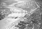 Ackroyd 00317-06 Portland Harbor aerials. November 17, 1947. downtown waterfront looking south. Harbor Drive, old Morrison Bridge, Hawthorne Bridge, 99E.