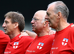 England's Tommy Charlton (middle) during the national anthems on his England debut before the Walking Football International match at The AMEX Stadium, Brighton.