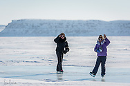 Skating on the river is a fun activity in Inukjuak