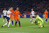 Netherlands Goalkeeper Jeroen Zoet (PSV Eindhoven) saves the ball from England defender John Stones during the Friendly match between Netherlands and England at the Amsterdam Arena, Amsterdam, Netherlands on 23 March 2018. Picture by Phil Duncan.