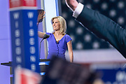 Conservative Talk show personality Laura Ingraham addresses the third day of the Republican National Convention July 20, 2016 in Cleveland, Ohio