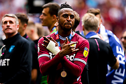 Jonathan Kodjia of Aston Villa celebrates winning promotion to the Premier League after beating Derby County in the Sky Bet Championship Playoff Final - Mandatory by-line: Robbie Stephenson/JMP - 27/05/2019 - FOOTBALL - Wembley Stadium - London, England - Aston Villa v Derby County - Sky Bet Championship Play-off Final