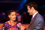 Nelly Furtado is interviewed by Spero Dedes of NBA TV at the NBA All-Star Game at the Staples Center on Sunday, Feb. 15, 2004 in Los Angeles.