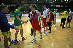 Handball game RD Slovan vs RD Merkur (Miha Svetelsek of Merkur and Ales Smejc of Slovan) in 7th round of MIK First league, on October 24, 2008 in Ljubljana, Slovenia. (Photo by Vid Ponikvar / Sportal Images)