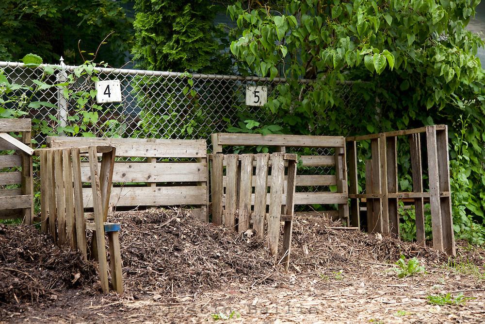 Compost bins in a school garden.