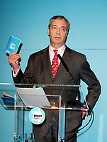 Brexit Party leader Nigel Farage at the launch the party's 'Contract With the People' at Millbank Tower, London, England