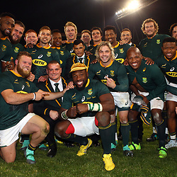Tendai Mtawarira of South Africa on his 100th cap with his team mates during the 2018 Castle Lager Incoming Series 2nd Test match between South Africa and England at the Toyota Stadium.Bloemfontein,South Africa. 16,06,2018 Photo by (Steve Haag JMP)