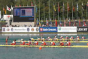 Munich, GERMANY, 02.09.2007,   B Final,  Men's eights  racing for the last Olympic place in the M8+ at the 2007 World Rowing Championships, CHN M8+ beating AUS M8+ to the line, on the  Munich Olympic Regatta Course, Bavaria. [Mandatory Credit. Peter Spurrier/Intersport Images] , Rowing Course, Olympic Regatta Rowing Course, Munich, GERMANY