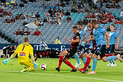 December 15, 2018 - Sydney, NSW, U.S. - SYDNEY, NSW - DECEMBER 15: Western Sydney Wanderers forward Oriol RieraÊ(9) gets the ball past Sydney FC goalkeeper Andrew Redmayne (1) to score at the Hyundai A-League Round 8 soccer match between Western Sydney Wanderers FC and Sydney FC at ANZ Stadium in NSW, Australia on December 15, 2018. (Photo by Speed Media/Icon Sportswire) (Credit Image: © Speed Media/Icon SMI via ZUMA Press)