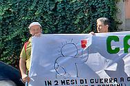 Roma 15 Settembre 2014<br /> Presidio della Rete Romana di Solidarietà con il Popolo Palestinese davanti alla sede della Federcalcio a Roma che aderisce alla Campagna Cartellino Rosso contro Israele che candida Gerusalemme come città in cui si giochino partite del campionato 2020 della Uefa, come se Gerusalemme fosse una città sua.<br /> Rome September 15, 2014 <br /> Demostration  of the Romana  Network in Solidarity with the Palestinian People outside the headquarters of the Football Association in Rome that adheres to the Red Card Campaign against Israel that candida Jerusalem as a city in which you play league matches of the 2020 UEFA Cup, as if Jerusalem was a city his.