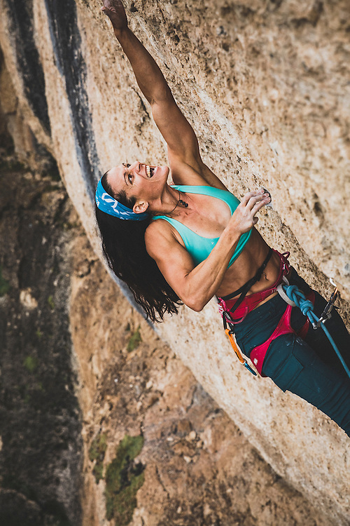 Alli Raiiney climbing her new route, Prowed 5.13c, at the Tyrell Crag, Ten Sleep Canyon, Wyoming.