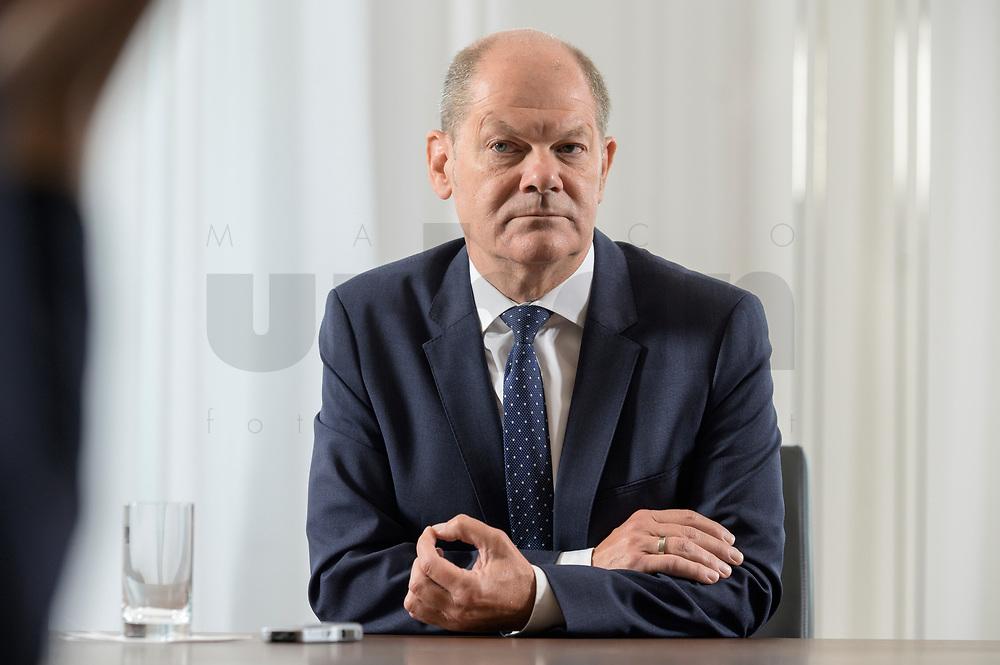 28 AUG 2020, BERLIN/GERMANY:<br /> Olaf Scholz, SPD, Bundesfinanzminister, waehrend einem Interview, Bundesministerium der Finanzen<br /> IMAGE: 20200828-01-022