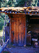 Finely crafted outhouse with hand-ripsawed door and moss roof, Dick Proenneke's cabin site, Lake Clark National Park, Alaska.