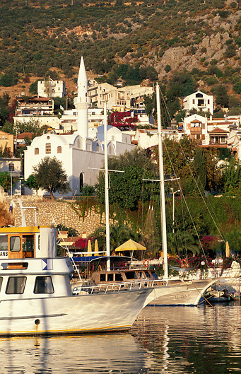Yachts and a mosque at the harbour of Kalkan on the Lycian/Turquoise Coast of Southern Turkey