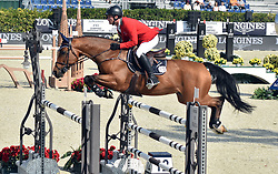 October 6, 2018 - Barcelona, Catalonia, Spain - The Swiss rider from Bryan Balsiger during his participation in the Queen's Cup Segura Viudas during the CSIO (Official International Jumping Competition) Barcelona 2018 at the Real Club de Polo de Barcelona. (Credit Image: © Ramon Costa/SOPA Images via ZUMA Wire)