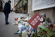 Memorial to the London Bridge terror attack of November 2019 on 7th January 2020 in London, England, United Kingdom. Floral tributes to those who lost their lives were placed at the foor of Monument in remembrance.