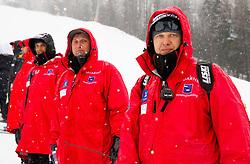 Jani Hladnik (R), coach of team Russia during the 1st Run of 10th Men's Slalom - Pokal Vitranc 2013 of FIS Alpine Ski World Cup 2012/2013, on March 10, 2013 in Vitranc, Kranjska Gora, Slovenia. (Photo By Vid Ponikvar / Sportida.com)