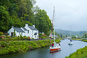 Yachts on Crinan Canal at Cairbaan near Lochgilphead, Argyll and Bute, Scotland