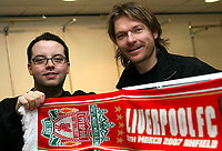 Photo: Paul Thomas.<br /> Photography of Norwegian Liverpool supporters at Anfield. 04/03/2007.<br /> <br /> Norwegian Liverpool supporters Andre Oien (L) and Per Arild Soly.