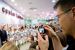 Fan takes a picture with a mobile phone at visit  of Slovenian National Football team in Mobitel center, on May 19, 2010 in Ciytpark, BTC, Ljubljana, Slovenia. (Photo by Vid Ponikvar / Sportida)